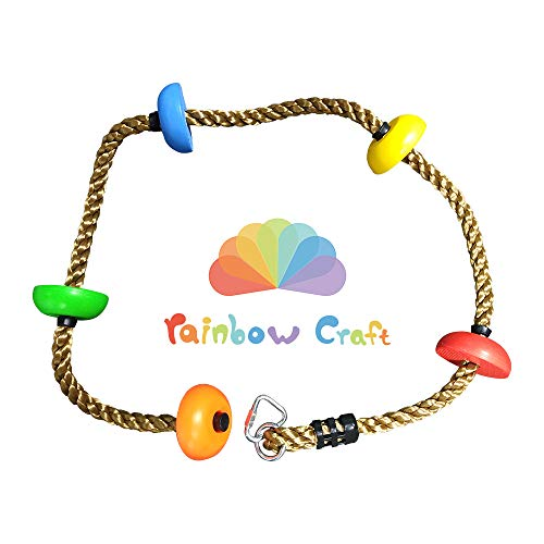 Rainbow Craft Colorful Climbing Rope - 6.5ft with 5 Knotted Foot - Kids Ninja Rope for Ninja Slackline Obstacle Course Accessories Kids Swing Set Backyard Play