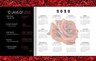 Jemi's 2020 Calendar Poster, Motivational Quotes, Inspiration, 10 Laws, Decor for Bedroom, Kitchen, Dorm, Gym, Livingroom, Anniversary or Wedding Gift for Him or Her