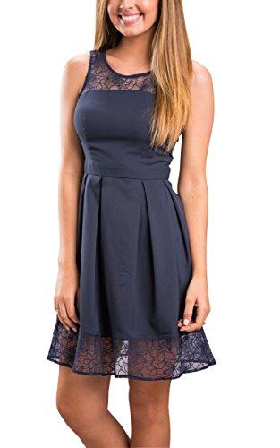 ECOWISH Damen Kleid Sommerkleid Freizeitkleid Cocktailkleid Lace Spitzen Elegant Armellos Rundhals Knielang ,EU M Navy Blau