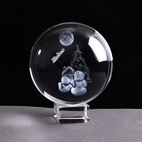 NYKK Divination Sphere Crystal Ball Fortune Telling Bal 80mm Snowman Crystal Ball 3D Miniature Laser Engrave Christmas Decorative Sphere Glass Globe Home Decor Ornament for Decorative Ball