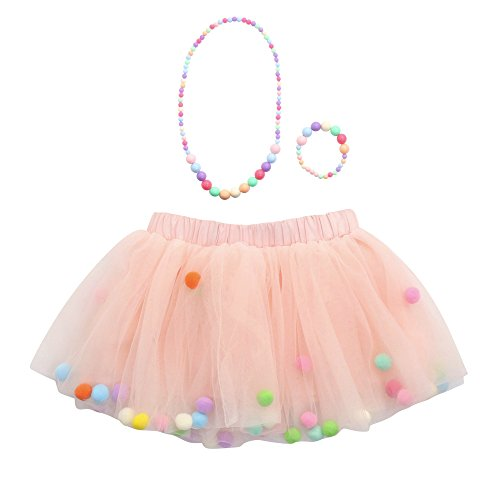 Xmiral Ragazze/Bambina Petticoat Sottogonna Tutu Tulle 3 Pezzi di Alta qualità per Bambina Tutu gonne Balletto + Bracciale + Collana Set da Festa (6-10 Anni,1- Rosa)
