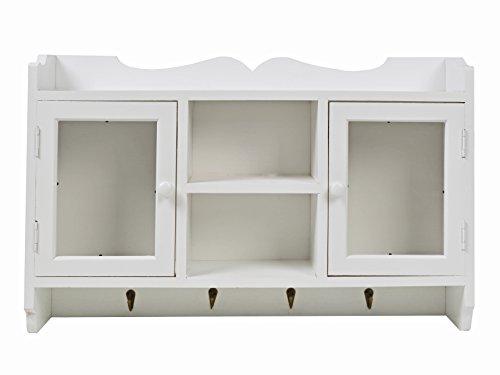 ts-ideen GmbH Scaffale pensile per la Cucina – Bianco – Stile casa di Campagna