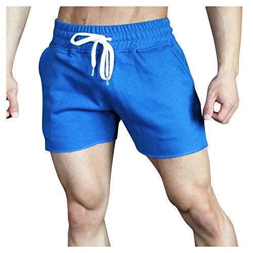 Bermuda - Pantalones cortos de baño para hombre, secado rápido, informales, pantalones cortos de verano, de un solo color, azul, XL
