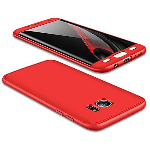 JMGoodstore Funda Galaxy S7 Edge,Carcasa Samsung S7 Edge,Funda 360 Grados Integral para Ambas Caras+Cristal Templado,[ 360°] 3 in 1 Slim Fit Dactilares Protectora Skin Caso Carcasa Cover Rojo