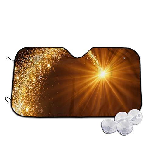 Rterss Personalisierte Windschutzscheibe mit Weihnachtsstern und goldenem Meteorblitz für die Windschutzscheibe, Sonnenblende, Frontscheibe, Glas, verhindert das Aufwärmen des Autos Gr. 85, weiß