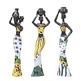 POHOVE 3pcs Africano Figura Escultura Mujer Figurita Estatua, Mujer Figura Arte Estatuillas, African...