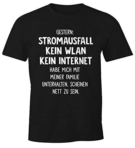 MoonWorks Herren T-Shirt Gestern: Stromausfall Kein WLAN Kein Internet Spruch-Shirt schwarz XS