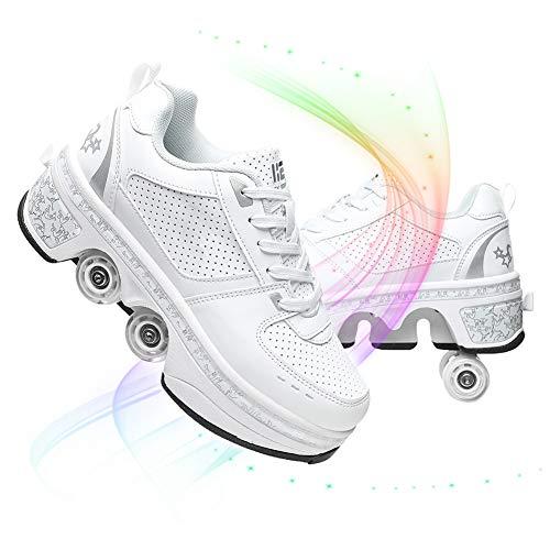 Patines De Ruedas Multiusos, Doble Fila Deformación Zapatos De Ruedas Caminar Automático Cuatro Patines De Ruedas Zapatos Deportivos Niños Adultos Al Aire Libre