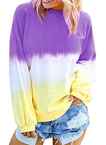Eytino Women Casual Tie Dye Sweatshirt Long Sleeve Colorblock Pullover Hoodie Tops,Small Purple