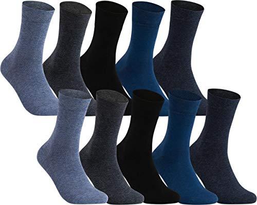 world wide sox | Ges&heitsstrümpfe für Herren | Baumwolle Gerippt Ohne Gummi | 10 Paar | schwarz, marine, anthrazit, blau, navy | 39-42