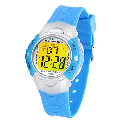 Kinder Digitaluhren, 7 Farben LED-Licht Kinder Sport Armbanduhr Jungen Wasserdicht Kinderuhr mit Alarm Stoppuhr, Kinderuhren Outdoor Armbanduhr für Jungen Mädchen (849L Blau)