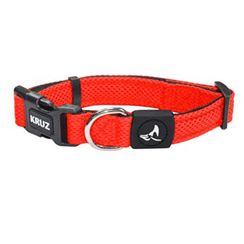 KRUZ PET KZA102-08S Mesh Dog Collar for Small, Medium, Large Dogs, Adjustable Neck Collar, Soft, Lightweight, Breathable, Comfort Fit - Orange - Small