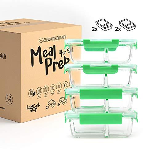 Meal Prep Frischhaltedosen Vorratsdosen aus Glas mit getrennten Kammern (4er Set je 1040ml) - Dichte Glasdosen mit Deckel (2er und 3er-Trennung) - BPA-frei & luftdicht - von Essen ohne Kohlenhydrate