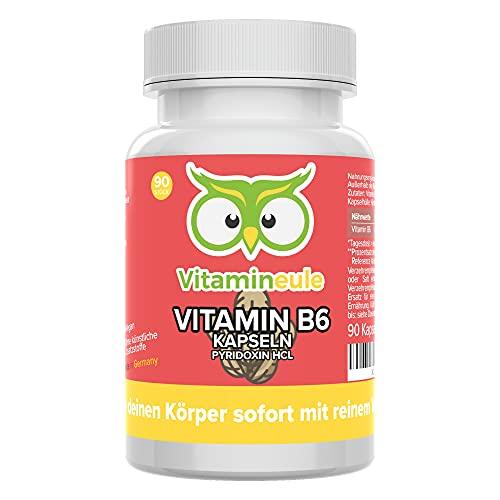 Vitamin B6 Kapseln - hochdosiert & vegan - 25mg reines Pyridoxin (Vitamin B 6) - ohne künstliche Zusätze - Qualität aus Deutschland - Vitamineule®
