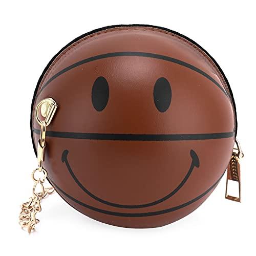 Bolso De Hombro Con Forma De Bola Para Bebé, Bolso De Hombro Con Forma De Baloncesto, Bolso Redondo De Cuero De PU Para La Escuela Para Exteriores Para Niños(marrón)