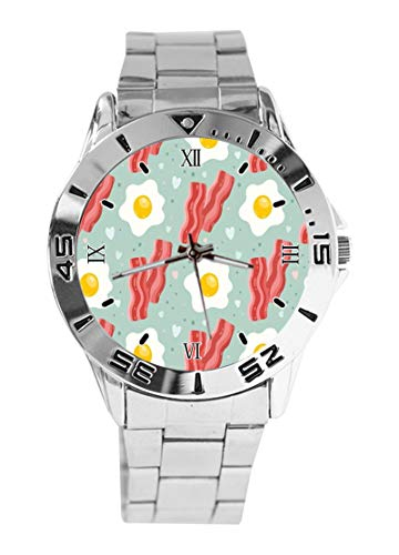 Bacon Eggs Food Pattern Quarzuhr – Mode Damen Herren Analog Armbanduhr/Unisex Edelstahl Armbanduhr – Silber