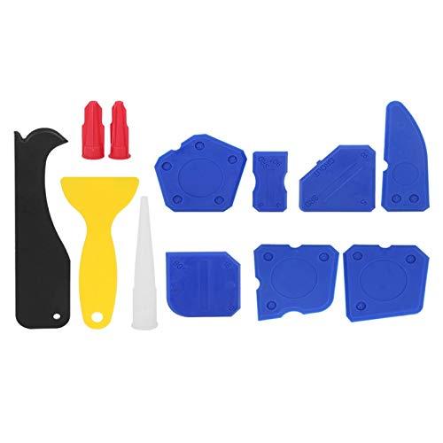 Deror 12 unids/set esparcidor de sellador de plástico raspador de calafateo Kit de herramientas de acabado de pegamento de vidrio para moldear lechada de silicona