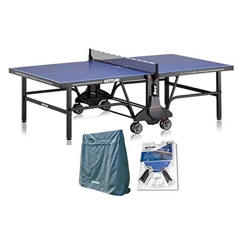 Kettler Champ 5.0 Outdoor Table Tennis Table with Outdoor Accessory Bundle: 2...