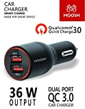 Moosh QC 3.0 Quick Charger Dual Port 36 W Turbo Car Charger Smart