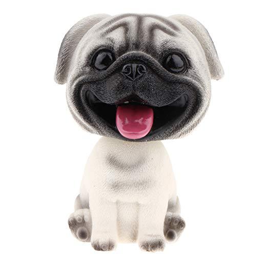 FLAMEER Mini Wackelkopf Welpe Hund Haustier Figur Spielzeug für Auto Armaturenbrett Dekoration - Mops