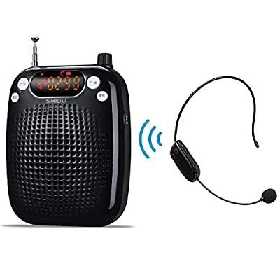 Voice Amplifier, SHIDU Wireless Voice Amplifier 10W Rechargeable Portable PA System Speaker with FM Wireless Microphone Headset Support MP3 Play for Teachers, Yoga, Tour Guides, Outdoor Trainers (S18)