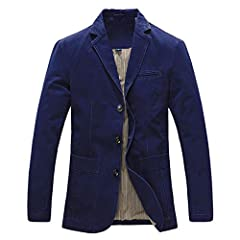 Men's blazer casual slim fit cotton smart 3 buttons business suit jackets and coat Slim fit and simple concise design blazer, match well with shirts and pants Great for casual, formal, business wear and other special events Classical plaid style blaz...