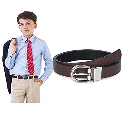 Boys Reversible Black Belt Big Kids Leather Belt for School Uniform Casual Jeans,black/coffee,L