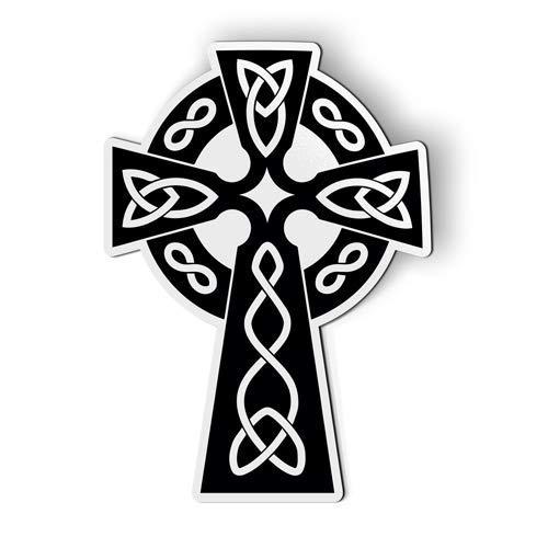 AK Wall Art Celtic Cross Black and White - Magnet - Car Fridge Locker - Select Size