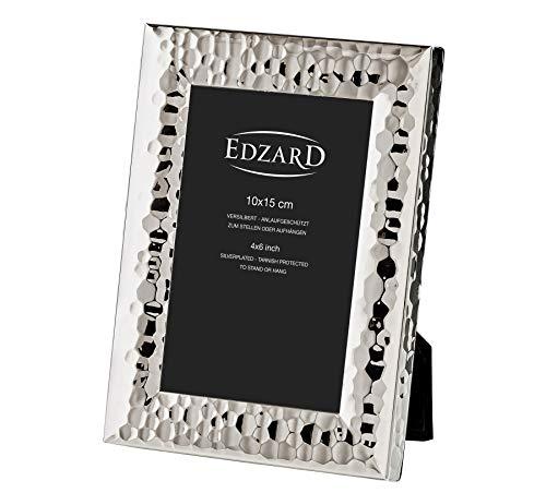 EDZARD Fotorahmen Gubbio für Foto 10 x 15 cm, edel versilbert, anlaufgeschützt