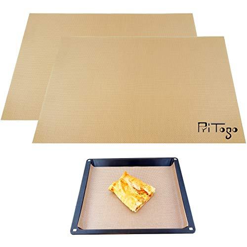 Pritogo [Lot de 2 tapis de cuisson en silicone/fibre de verre 42 x 30 cm sans bisphénol A -40 °C à 240 °C, sans huile & graisse, revêtement anti-adhésif pour pizza, gâteaux, pâtes, viande et œuf