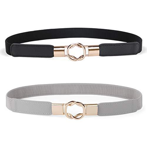 JASGOOD 2 Pack Women Retro Elastic Stretchy Metal Buckle Skinny Waist Belt 1 inch Wide,Black+Grey,FIts Waist 26-32 Inches