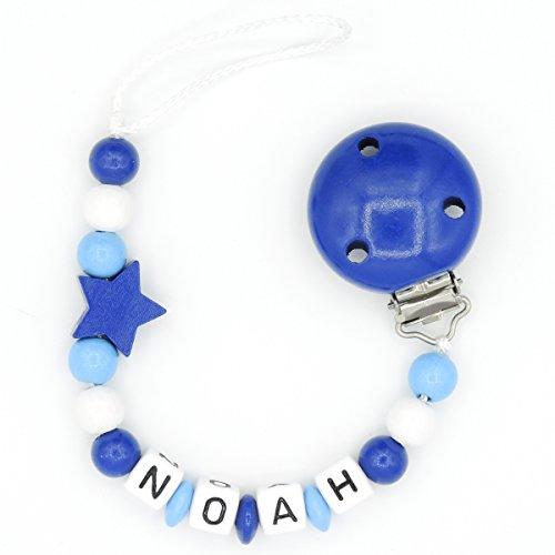 """Schnullerkette """"Mundspiel"""" mit Namen - Junge - dunkelblau - Geschenk zur Geburt oder Taufe (Noah)"""