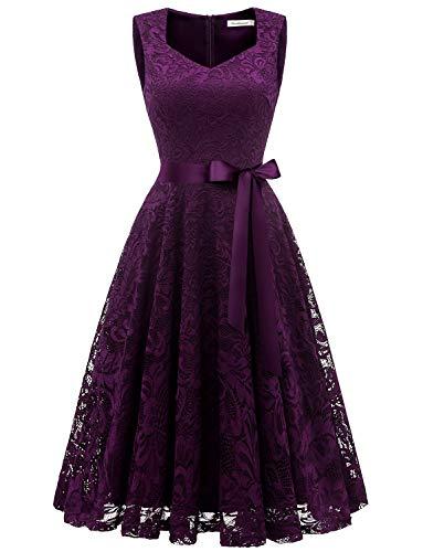 Gardenwed Damen Elegant Spitzenkleid Strech Herzform Abendkleid Cocktailkleider Partykleider Grape L