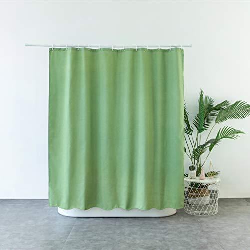 X-Labor Premium Leinen Duschvorhang 240x200cm Wasserdicht Stoff Anti-Schimmel inkl. 12 Duschvorhangringe Waschbar Badewannevorhang 180x200cm Grün