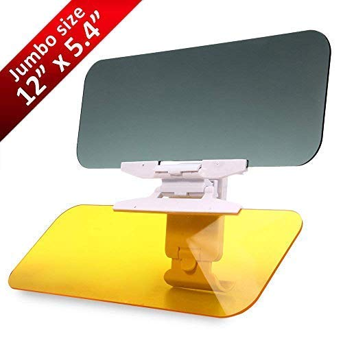 Car Visor Day and Night Anti-Glare Visor, 2 in 1 Automobile Sun Anti-UV Block Visor Non Glare Anti-Dazzle Sunshade Mirror Goggles Shield for Driving Goggles