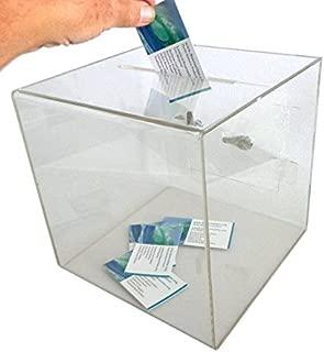 SourceOne Medium 8 Inch Premium Clear Acrylic Ballot Box Donation Box Cube