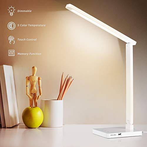 Albrillo Lampada da Scrivania - Lampada da Tavolo LED con 5 Livelli di Luminosità e 5 Modalità Regolabile, Porta USB e Touch Controllo, Luce Gradevole per Occhi, Lampada da Tavolo Pieghevole Bianca