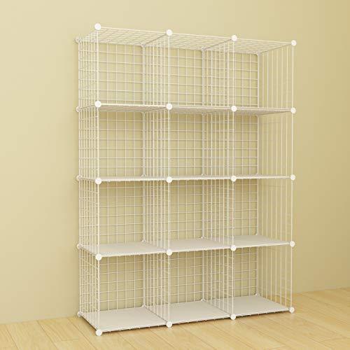 SIMPDIY Aufbewahrung Regalsystem, Drahtgitter Steckregal, 12 Fächer Bücherregal Kleiderschrank, kinderzimmer standregal steckregal (Weiß, 93x32x124cm)