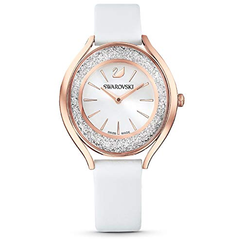 Swarovski Damen Uhr 5519453 Crystalline Aura, Lederarmband, weiss, rosé vergoldetes PVD-Finish