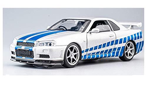 Modelo de automóvil de control remoto del niño 1:32 Toyler Control Remoto Aleación de automóviles Diecast Toyler Control Remoto Modelo de coche para Nissan para GTR R34 Función de retroceso Luz de son