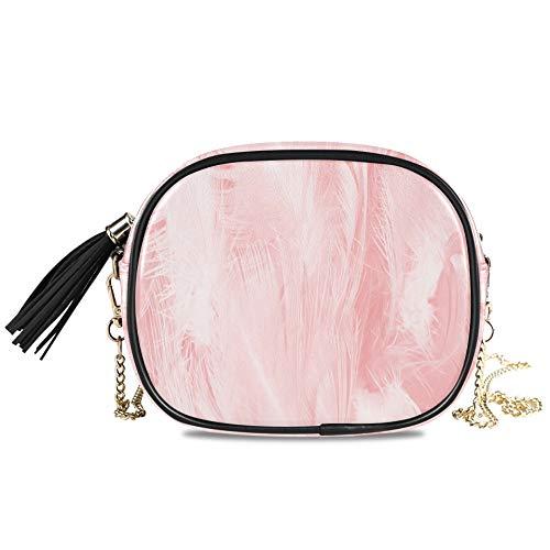 Coral Pink Vintage Color Trends Feather Te Bolso de noche para mujer Fiesta formal Bolso para mujer Decoración cruzada para niñas Monederos pequeños para mujer 7.48x5.9x3.54 pulgadas