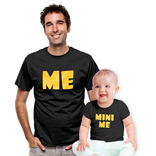 Partner Outfit Geschenkidee - Me Mini Me - Baby und Papa Tshirts Man Schwarz Medium/Baby Schwarz 12-18 Monate / 86