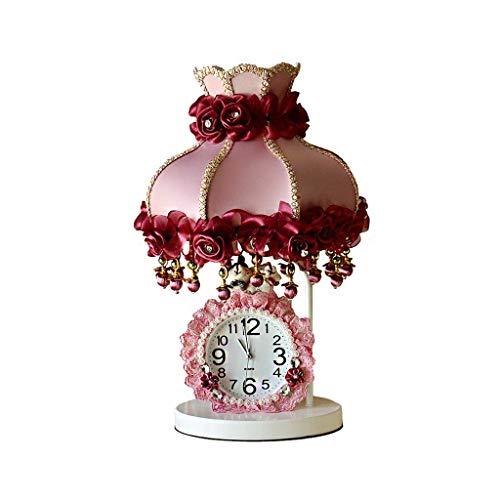 CHNOI Lámparas de Mesa de Tela de Encaje de Palacio, Interruptor de atenuación de Regalo de Boda de cumpleaños Rosa romántico, lámparas E27, vestíbulo de Noche, Dormitorio