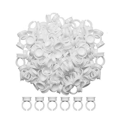 BESTZY Soportes para Pegamento de Pestañas 400 pcs Diseño de Anillo de Plástico para Manicura, Tatuajes, Extensiones de Pestañas, Pigmentos, etc.