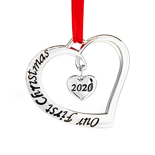 Klikel Our First Christmas Ornament 2020 - First Christmas Married Ornament 2020 - Just Married Heart 2020 Ornaments - First Christmas Engagement Ornament 2020