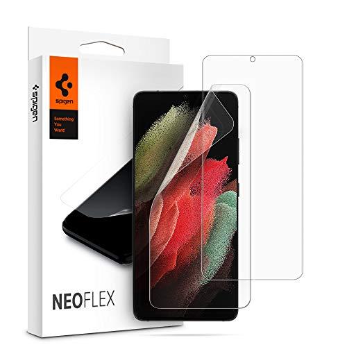 Spigen NeoFlex Schutzfolie kompatibel mit Samsung Galaxy S21 Ultra, 2 Stück, Kratzfest, Wasserinstallation Folie