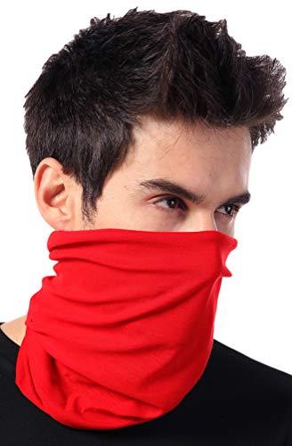 12-in-1 Headband [Solids] - Versatile Lightweight Sports & Casual Headwear - Bandana, Neck Gaiter, Balaclava, Helmet Liner, Mask & More. Constructed with High Performance Moisture Wicking Microfiber,Bright Red