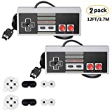 NES Classic Controller with 12FT Cable [2-Pack] for Nintendo Classic Mini Edition,NES Classic 2016,SNES Classic 2017,2 Pack Classic Mini Controllers with 2 Set Conductive Adhesive Pads - Wired Joypad