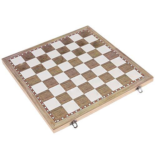 QOTSTEOS 3-in-1-Schachbrett-Set, Holz, tragbar, faltbar, Schachspiel, Backgammon-Drughts Set, Checkers Backgammon-Spiel für Kinder und Erwachsene, Puzzle, pädagogisches Geschenk