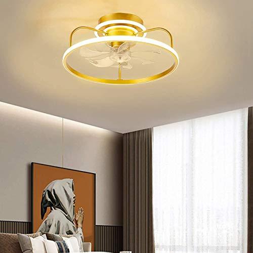 NZDY - Ventilador de ventilador LED silencioso y mando a distancia, 3 velocidades, ventilador de techo regulable con luz Φ49 cm, con temporizador de ventilador de salón moderno
